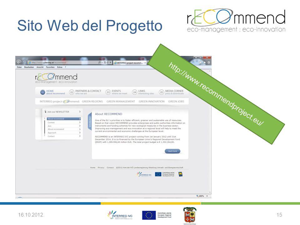 Sito Web del Progetto 16.10.2012.15 http://www.recommendproject.eu/