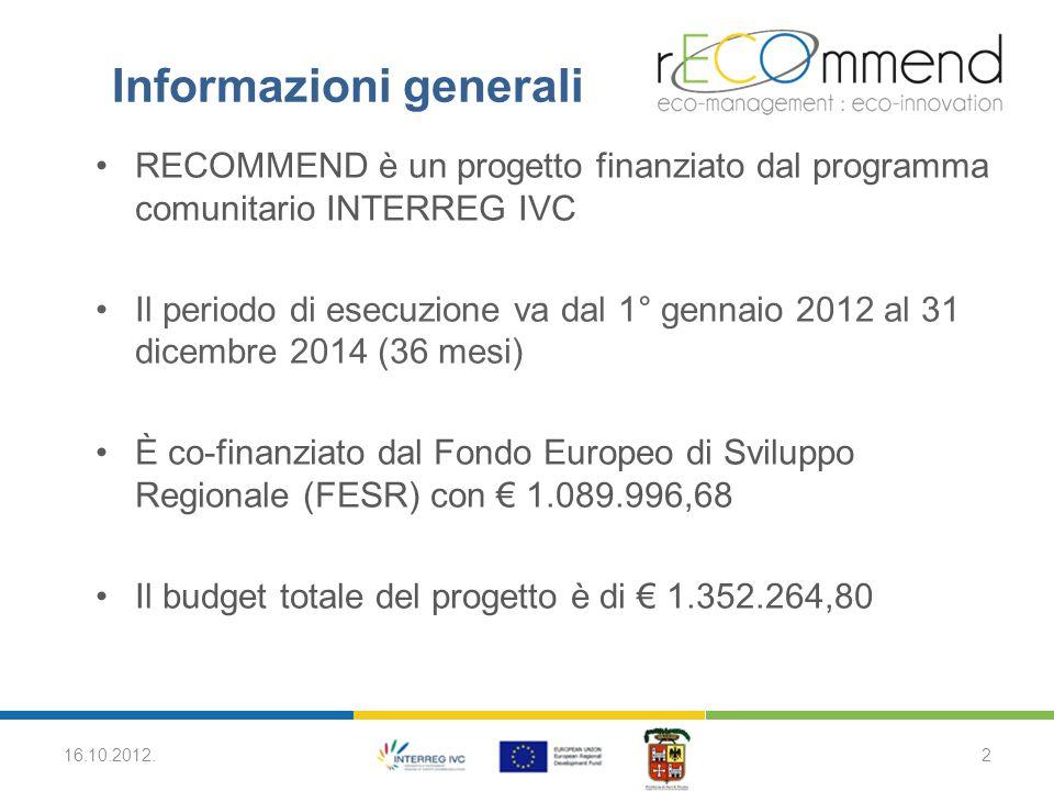 RECOMMEND è un progetto finanziato dal programma comunitario INTERREG IVC Il periodo di esecuzione va dal 1° gennaio 2012 al 31 dicembre 2014 (36 mesi) È co-finanziato dal Fondo Europeo di Sviluppo Regionale (FESR) con € 1.089.996,68 Il budget totale del progetto è di € 1.352.264,80 16.10.2012.2 Informazioni generali