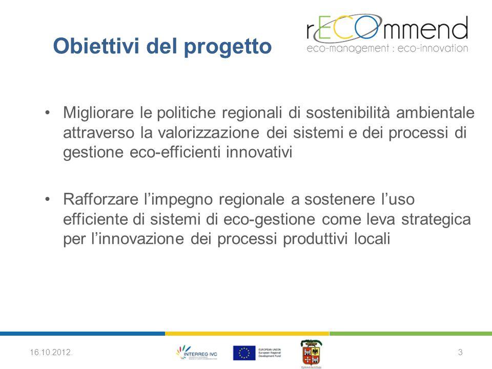 Condividere i piani regionali di eco-gestione ed eco- innovazione a livello transnazionale Aumentare l'attenzione delle Piccole e Medie Imprese nei confronti della sostenibilità ambientale Migliorare la coerenza fra le azioni svolte nell'ambito di eco-gestione ed eco-innovazione nei diversi paesi europei 16.10.2012.4 Obiettivi del progetto