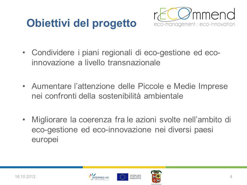 Risultati del progetto 8 Piani di Implementazione Regionali (PIR) Il PIR è uno strumento di politica regionale atto alla promozione dell'eco-gestione e/o dell'eco-innovazione nel proprio territorio.