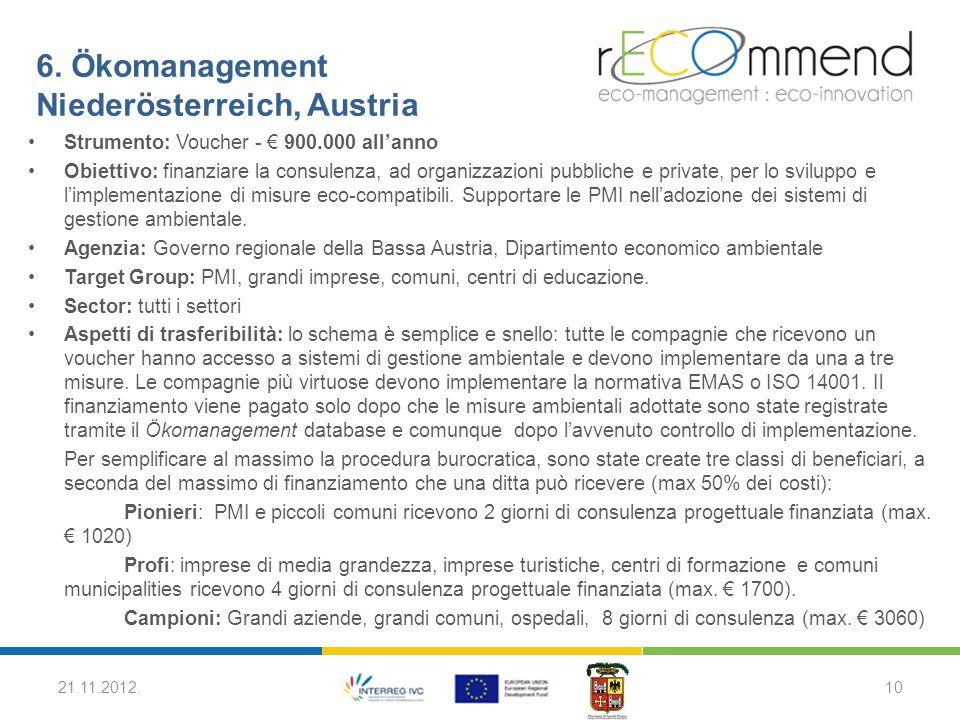 6. Ökomanagement Niederösterreich, Austria Strumento: Voucher - € 900.000 all'anno Obiettivo: finanziare la consulenza, ad organizzazioni pubbliche e