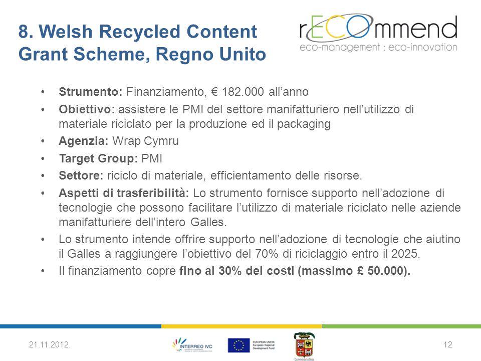 8. Welsh Recycled Content Grant Scheme, Regno Unito Strumento: Finanziamento, € 182.000 all'anno Obiettivo: assistere le PMI del settore manifatturier