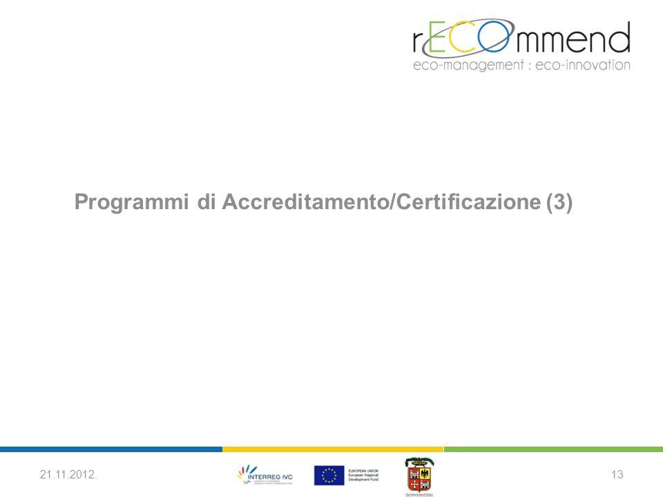 Programmi di Accreditamento/Certificazione (3) 21.11.2012.13