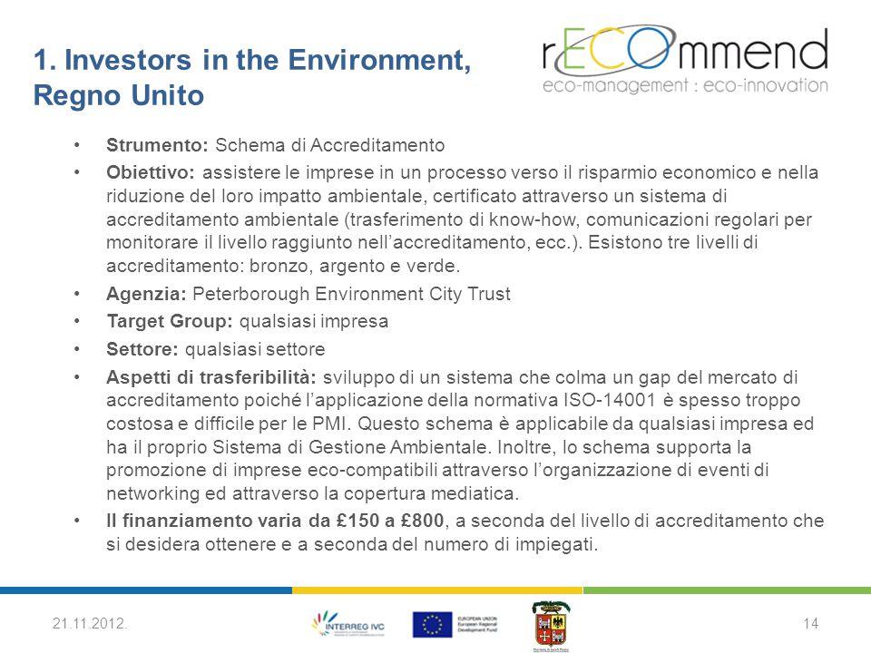 1. Investors in the Environment, Regno Unito Strumento: Schema di Accreditamento Obiettivo: assistere le imprese in un processo verso il risparmio eco