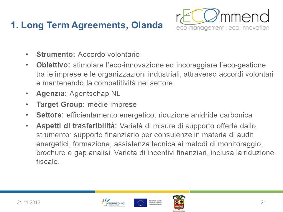 1. Long Term Agreements, Olanda Strumento: Accordo volontario Obiettivo: stimolare l'eco-innovazione ed incoraggiare l'eco-gestione tra le imprese e l