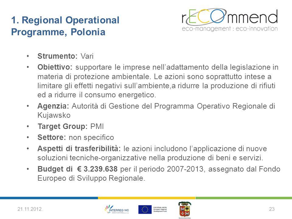 1. Regional Operational Programme, Polonia Strumento: Vari Obiettivo: supportare le imprese nell'adattamento della legislazione in materia di protezio