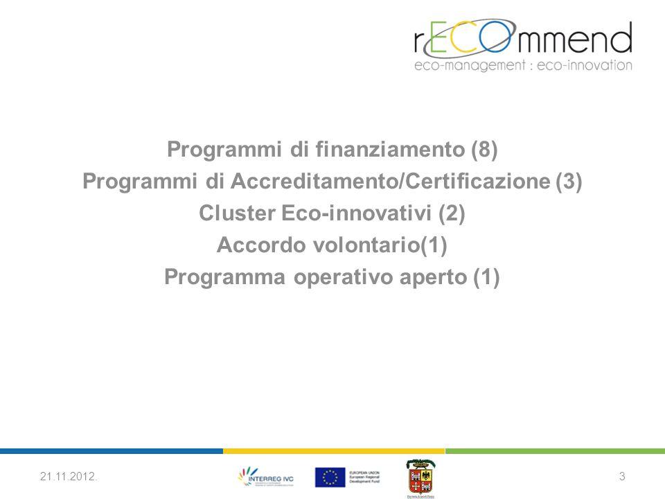 Programmi di finanziamento (8) Programmi di Accreditamento/Certificazione (3) Cluster Eco-innovativi (2) Accordo volontario(1) Programma operativo aperto (1) 21.11.2012.3