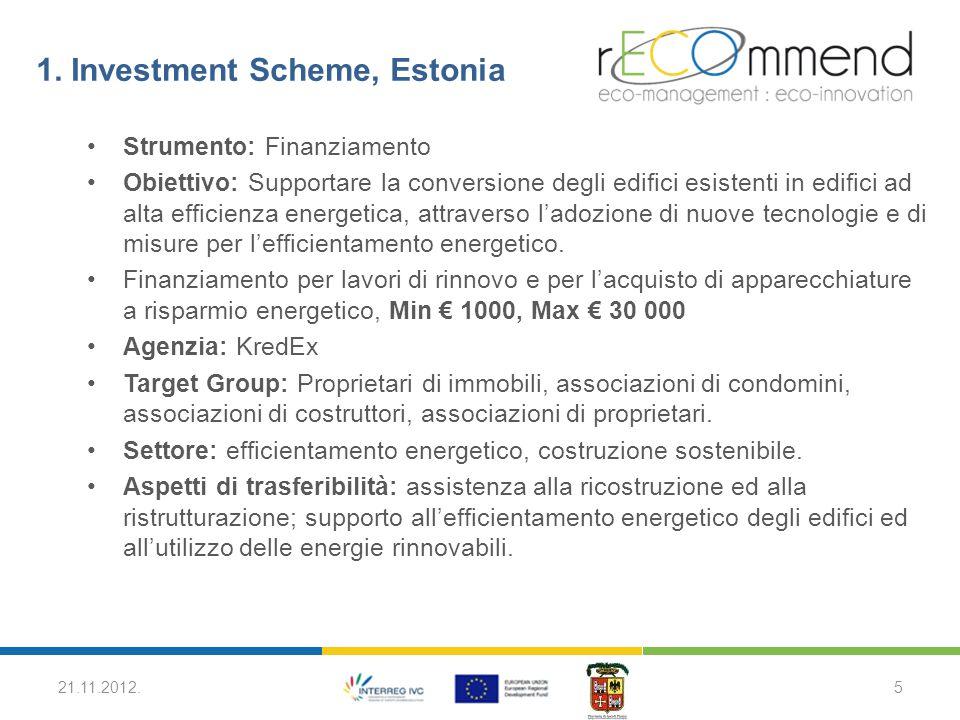 1. Investment Scheme, Estonia Strumento: Finanziamento Obiettivo: Supportare la conversione degli edifici esistenti in edifici ad alta efficienza ener
