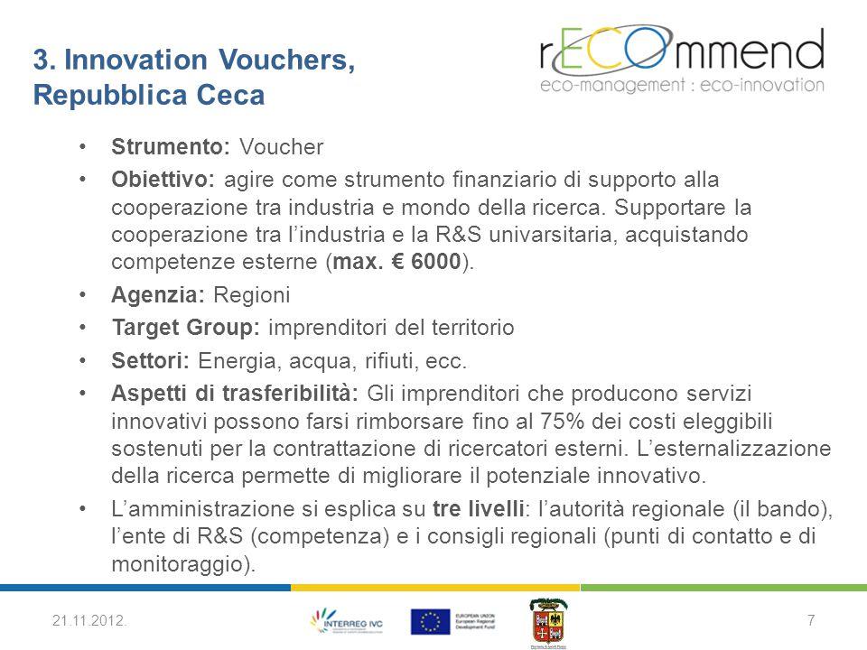 3. Innovation Vouchers, Repubblica Ceca Strumento: Voucher Obiettivo: agire come strumento finanziario di supporto alla cooperazione tra industria e m