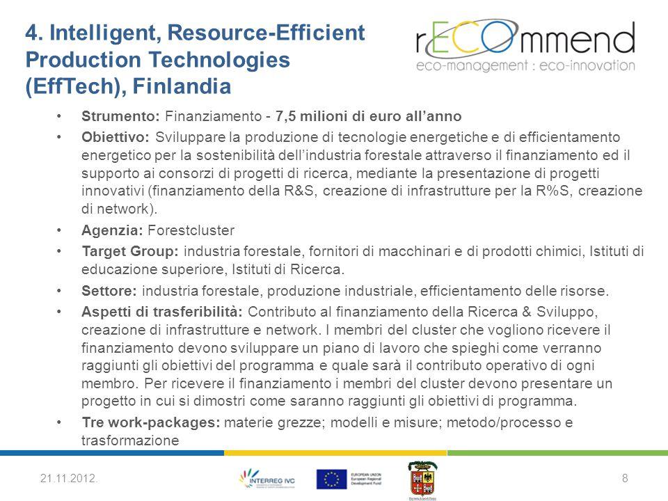 4. Intelligent, Resource-Efficient Production Technologies (EffTech), Finlandia Strumento: Finanziamento - 7,5 milioni di euro all'anno Obiettivo: Svi