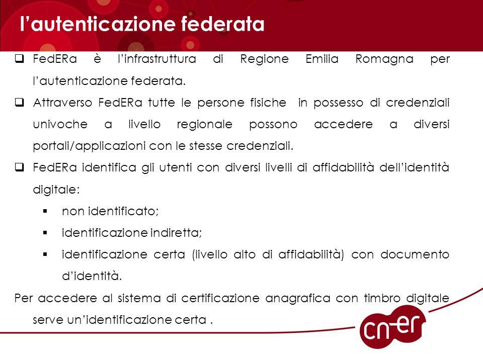  FedERa è l'infrastruttura di Regione Emilia Romagna per l'autenticazione federata.  Attraverso FedERa tutte le persone fisiche in possesso di crede