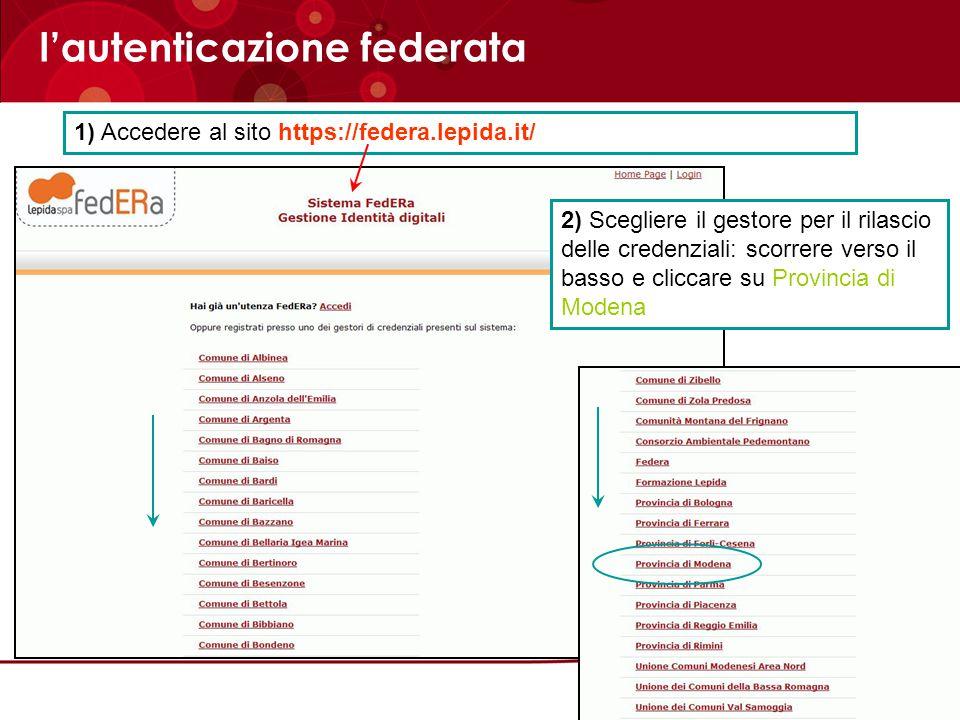 l'autenticazione federata 2) Scegliere il gestore per il rilascio delle credenziali: scorrere verso il basso e cliccare su Provincia di Modena 1) Acce