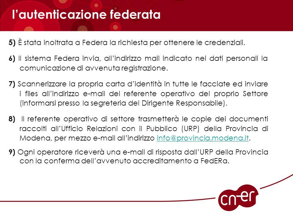 l'autenticazione federata 5) È stata inoltrata a Federa la richiesta per ottenere le credenziali. 6) Il sistema Federa invia, all'indirizzo mail indic