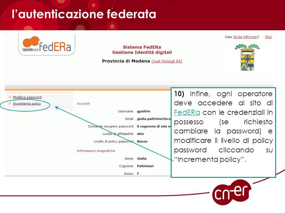 l'autenticazione federata 13) Annotarsi le nuove credenziali di accesso ottenute (gestore credenziali: Provincia di Modena, username e password) che verranno richieste ogni volta che si intende accedere al servizio on line.