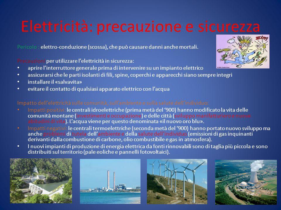 Elettricità: precauzione e sicurezza Pericolo : elettro-conduzione (scossa), che può causare danni anche mortali. Precauzioni per utilizzare l'elettri