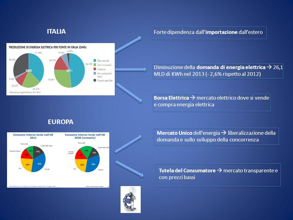 ITALIA Forte dipendenza dall'importazione dall'estero Diminuzione della domanda di energia elettrica  26,1 MLD di KWh nel 2013 (- 2,6% rispetto al 20