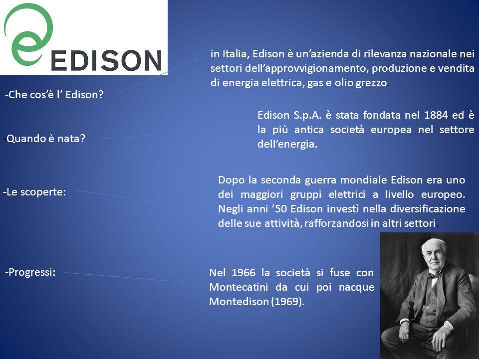 -Che cos'è l' Edison? in Italia, Edison è un'azienda di rilevanza nazionale nei settori dell'approvvigionamento, produzione e vendita di energia elett