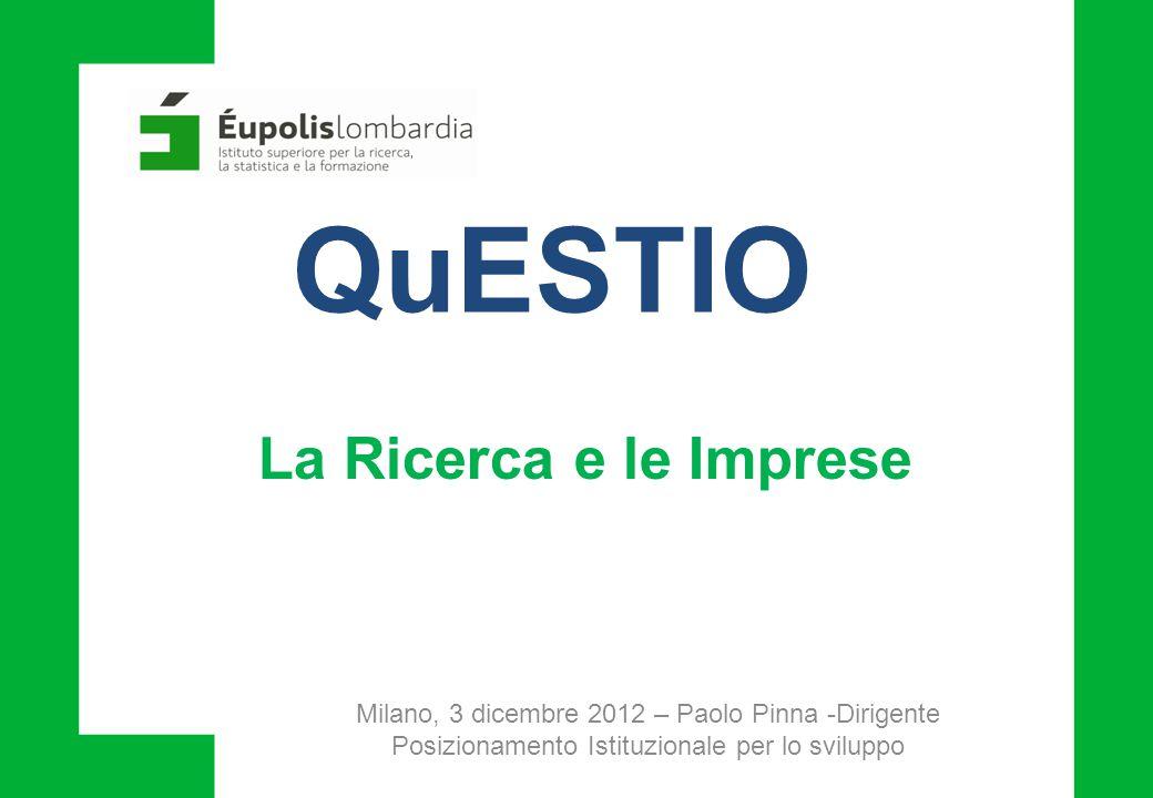 Milano, 3 dicembre 2012 – Paolo Pinna -Dirigente Posizionamento Istituzionale per lo sviluppo QuESTIO La Ricerca e le Imprese