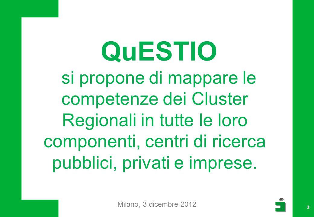 22 QuESTIO si propone di mappare le competenze dei Cluster Regionali in tutte le loro componenti, centri di ricerca pubblici, privati e imprese.