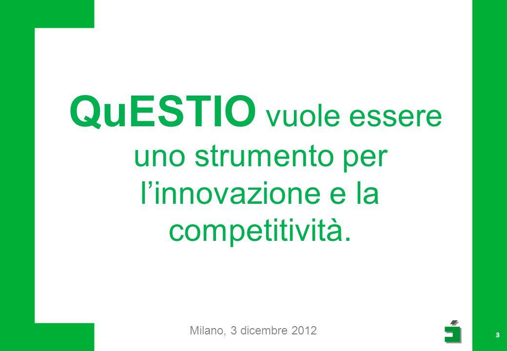 QuESTIO potrà essere maggiormente a supporto degli attori del territorio Milano, 3 dicembre 2012 4