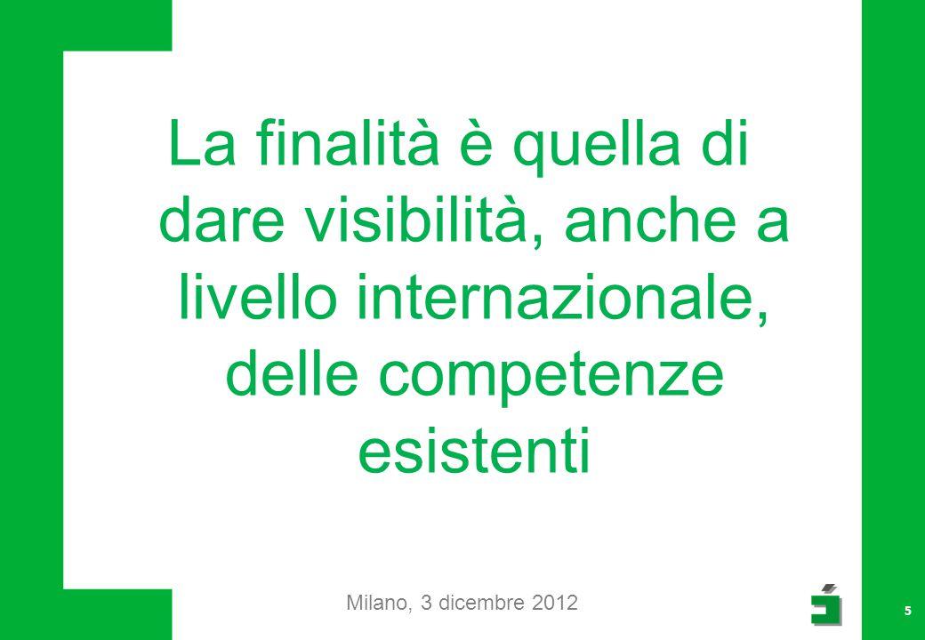 La finalità è quella di dare visibilità, anche a livello internazionale, delle competenze esistenti Milano, 3 dicembre 2012 5