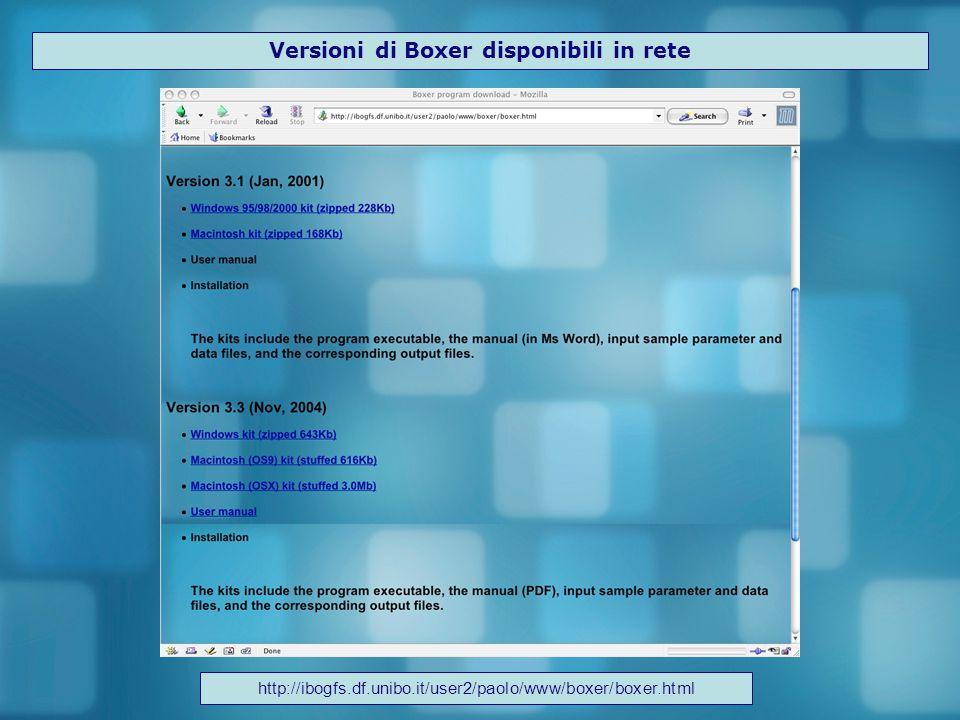 Versioni di Boxer disponibili in rete http://ibogfs.df.unibo.it/user2/paolo/www/boxer/boxer.html