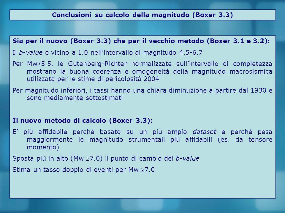 Conclusioni su calcolo della magnitudo (Boxer 3.3) Sia per il nuovo (Boxer 3.3) che per il vecchio metodo (Boxer 3.1 e 3.2): Il b-value è vicino a 1.0