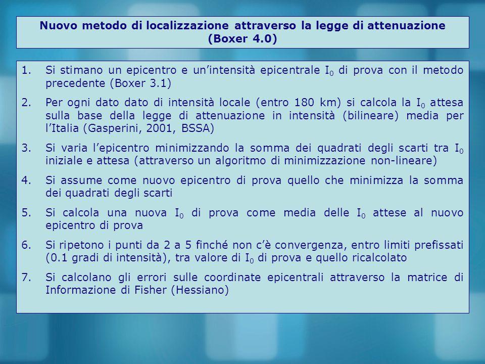 Nuovo metodo di localizzazione attraverso la legge di attenuazione (Boxer 4.0) 1.Si stimano un epicentro e un'intensità epicentrale I 0 di prova con il metodo precedente (Boxer 3.1) 2.Per ogni dato dato di intensità locale (entro 180 km) si calcola la I 0 attesa sulla base della legge di attenuazione in intensità (bilineare) media per l'Italia (Gasperini, 2001, BSSA) 3.Si varia l'epicentro minimizzando la somma dei quadrati degli scarti tra I 0 iniziale e attesa (attraverso un algoritmo di minimizzazione non-lineare) 4.Si assume come nuovo epicentro di prova quello che minimizza la somma dei quadrati degli scarti 5.Si calcola una nuova I 0 di prova come media delle I 0 attese al nuovo epicentro di prova 6.Si ripetono i punti da 2 a 5 finché non c'è convergenza, entro limiti prefissati (0.1 gradi di intensità), tra valore di I 0 di prova e quello ricalcolato 7.Si calcolano gli errori sulle coordinate epicentrali attraverso la matrice di Informazione di Fisher (Hessiano)