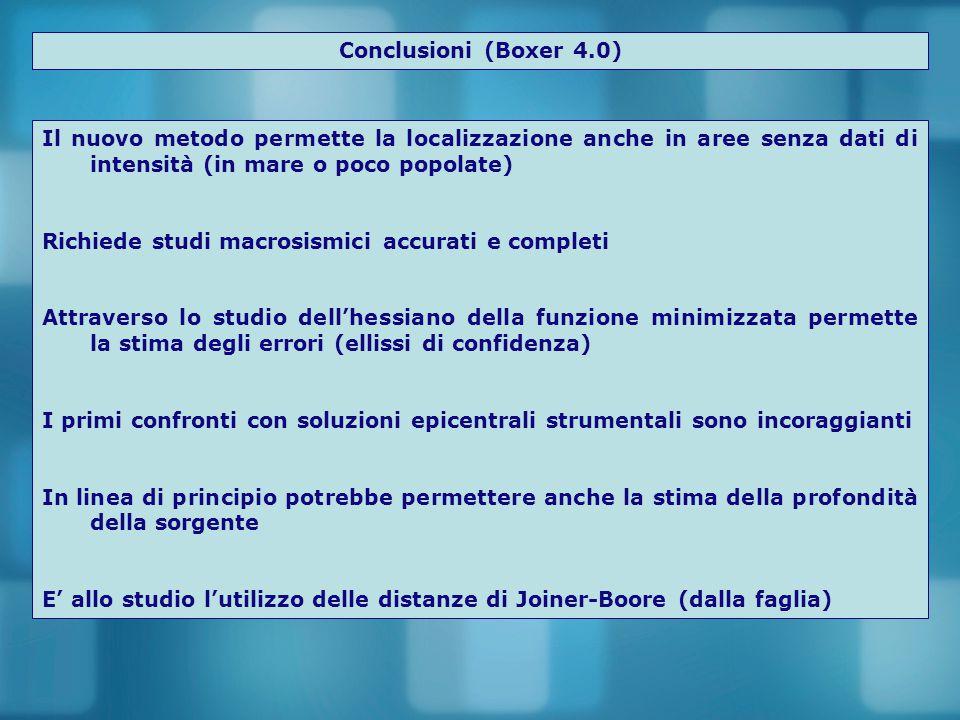 Conclusioni (Boxer 4.0) Il nuovo metodo permette la localizzazione anche in aree senza dati di intensità (in mare o poco popolate) Richiede studi macr