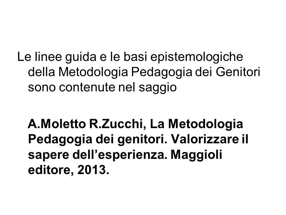 Le linee guida e le basi epistemologiche della Metodologia Pedagogia dei Genitori sono contenute nel saggio A.Moletto R.Zucchi, La Metodologia Pedagogia dei genitori.