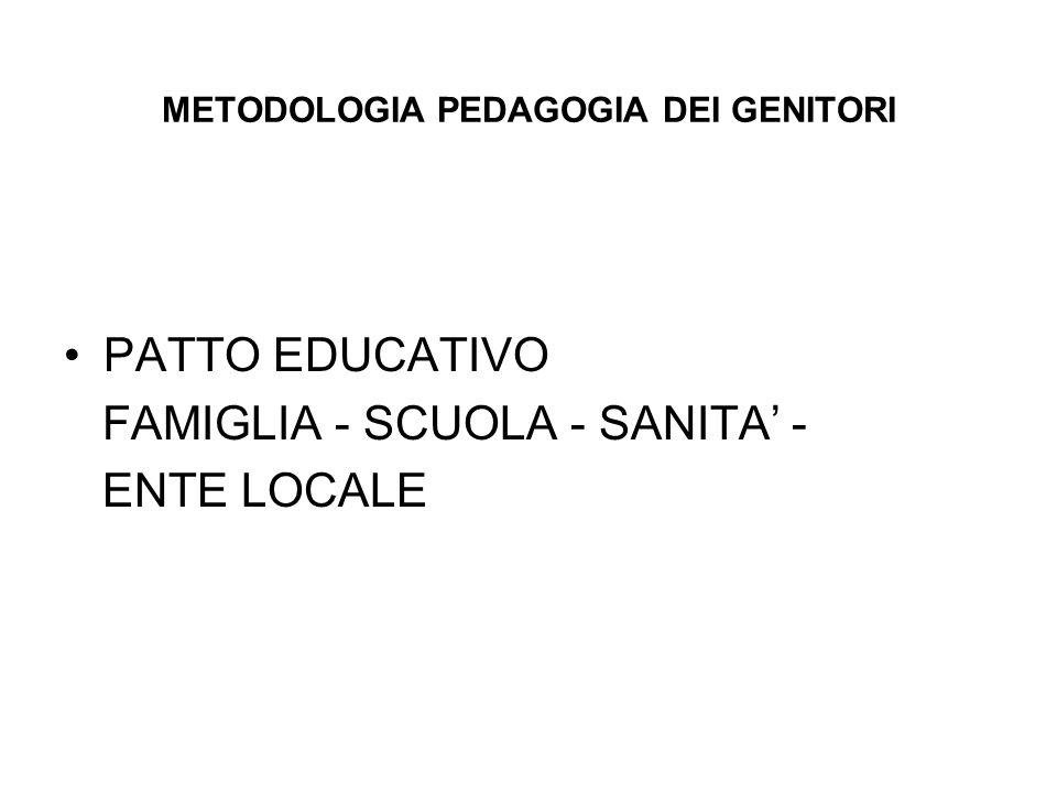 METODOLOGIA PEDAGOGIA DEI GENITORI PATTO EDUCATIVO FAMIGLIA - SCUOLA - SANITA' - ENTE LOCALE
