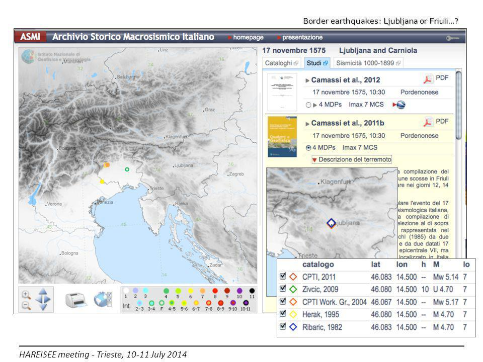 HAREISEE meeting - Trieste, 10-11 July 2014 Border earthquakes: Ljubljana or Friuli…?