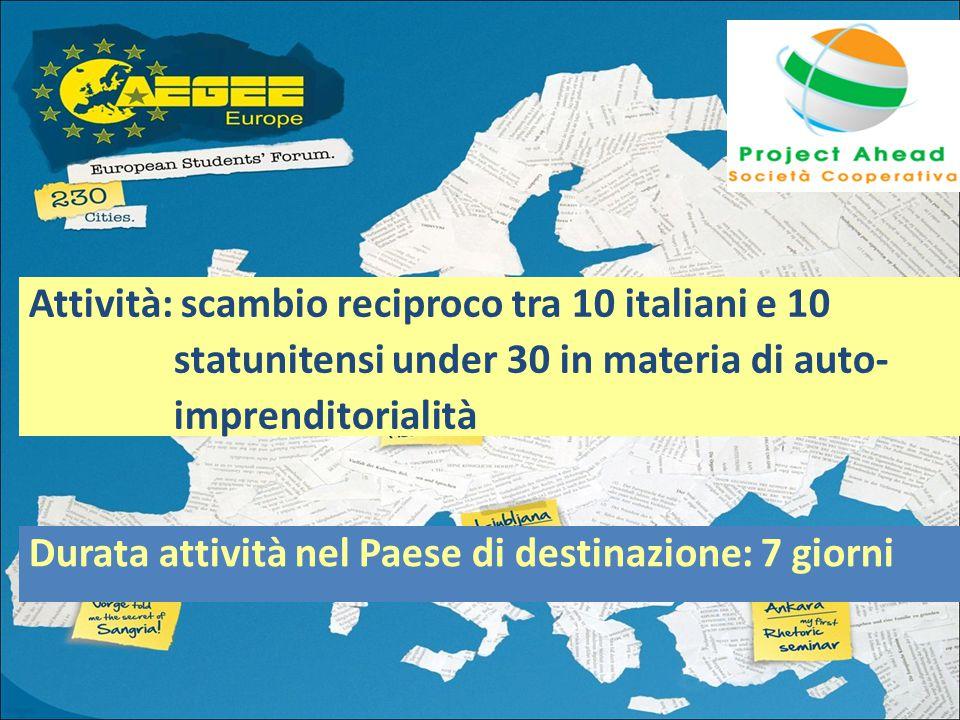 Attività: scambio reciproco tra 10 italiani e 10 statunitensi under 30 in materia di auto- imprenditorialità Durata attività nel Paese di destinazione: 7 giorni