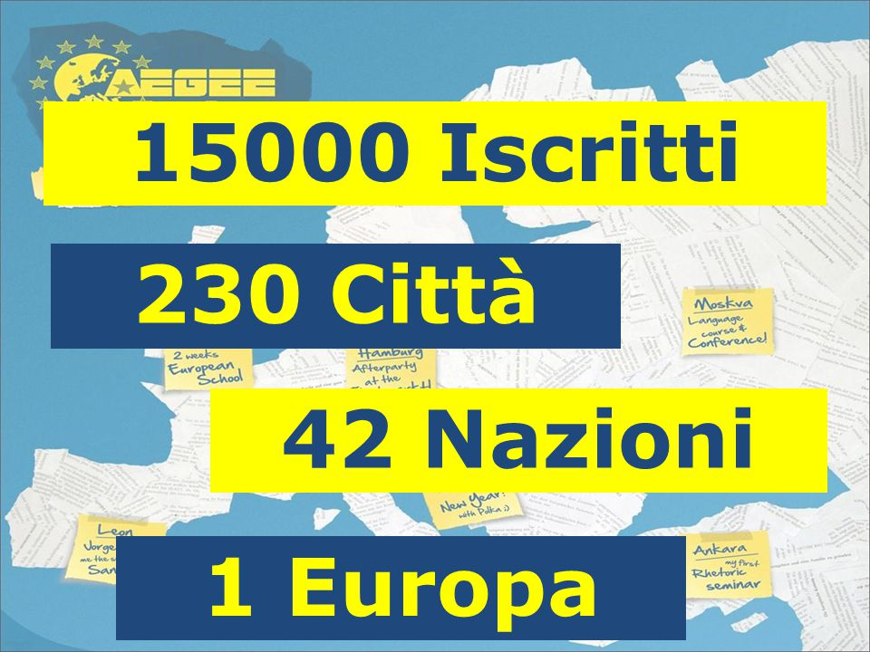 15000 Iscritti 42 Nazioni 230 Città 1 Europa