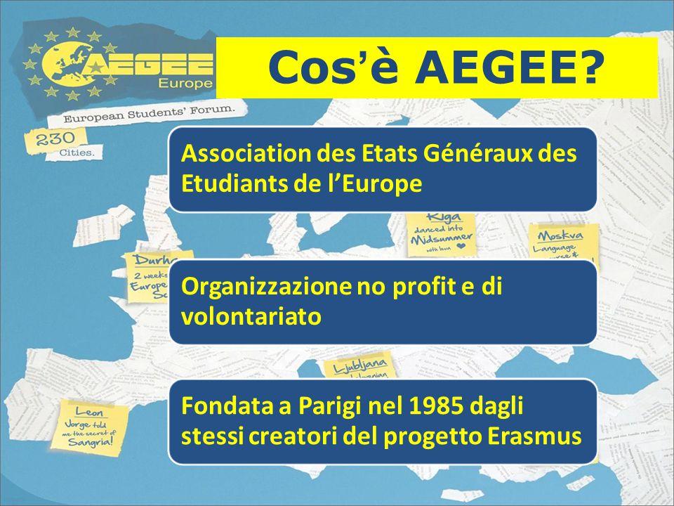 Association des Etats Généraux des Etudiants de l'Europe Organizzazione no profit e di volontariato Fondata a Parigi nel 1985 dagli stessi creatori del progetto Erasmus Cos'è AEGEE