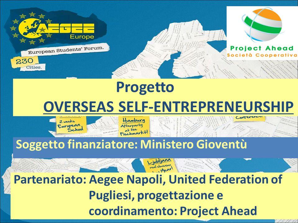 Soggetto finanziatore: Ministero Gioventù Progetto OVERSEAS SELF-ENTREPRENEURSHIP Partenariato: Aegee Napoli, United Federation of Pugliesi, progettazione e coordinamento: Project Ahead