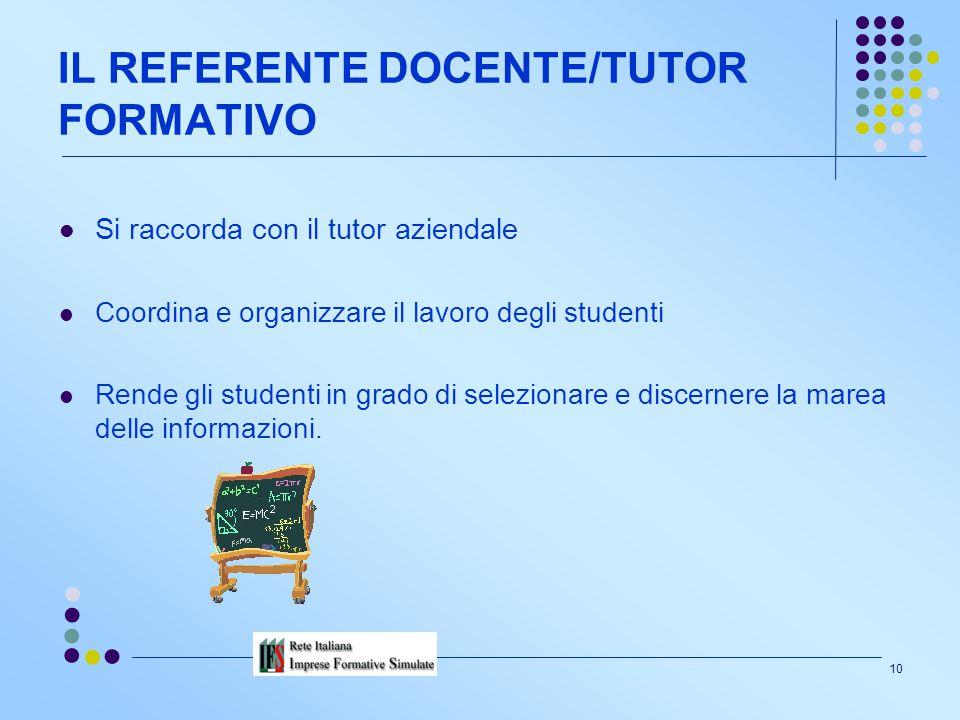9 LE AZIENDE Forniscono tutte le informazioni e i dati per realizzare l'IFS. Partecipano insieme ai docenti alla definizione dell'offerta formativa.