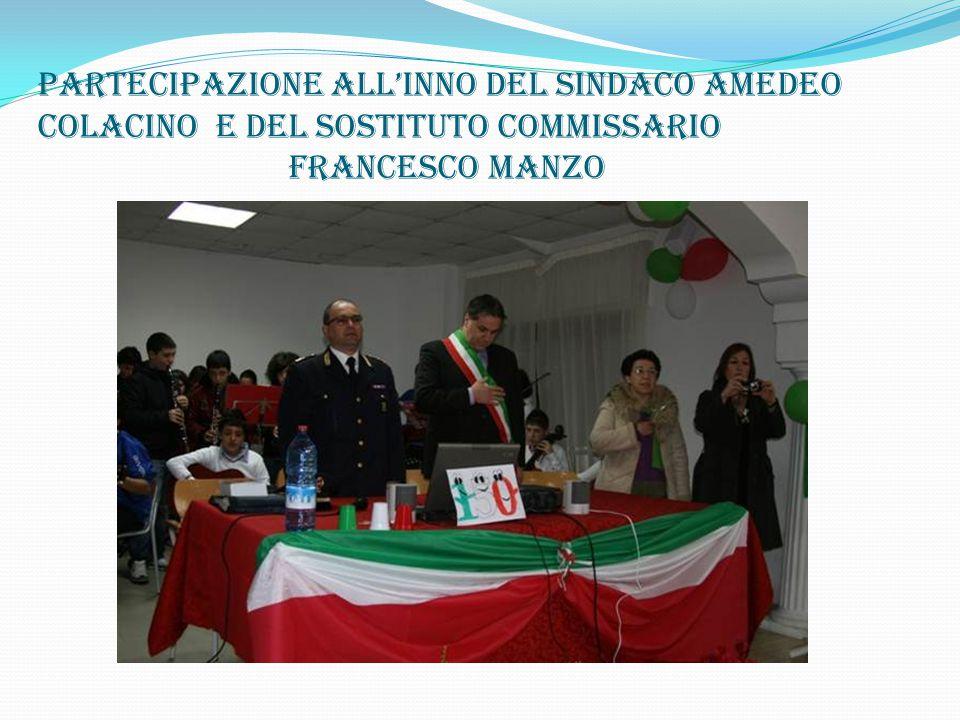 Partecipazione all'inno del sindaco amedeo colacino e del sostituto commissario francesco manzo