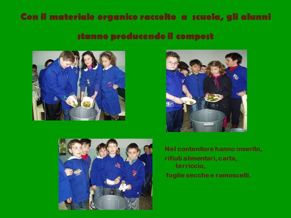 Con il materiale organico raccolto a scuola, gli alunni stanno producendo il compost Nel contenitore hanno inserito, rifiuti alimentari, carta, terric