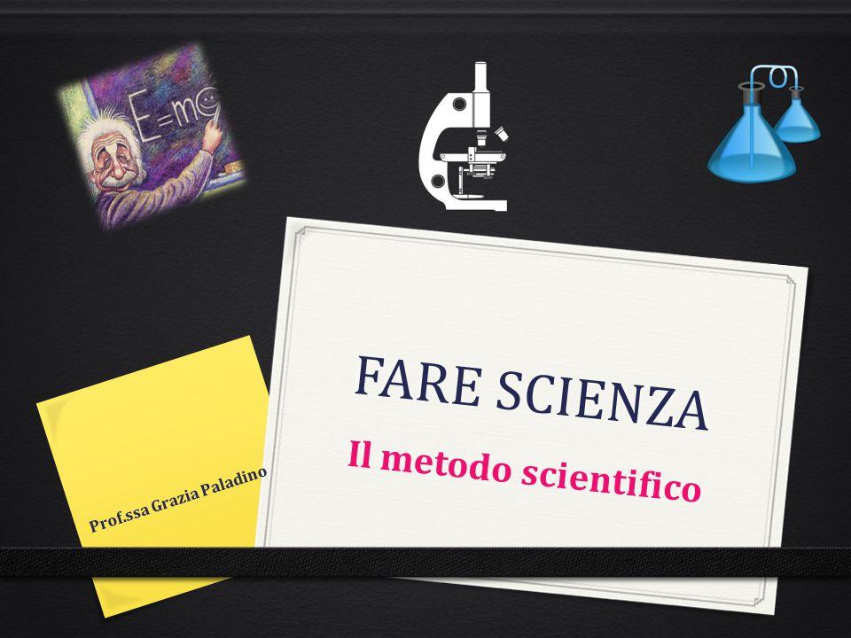 FARE SCIENZA Il metodo scientifico Prof.ssa Grazia Paladino