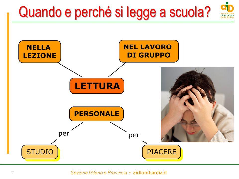 Sezione Milano e Provincia aidlombardia.it 1 Quando e perché si legge a scuola?