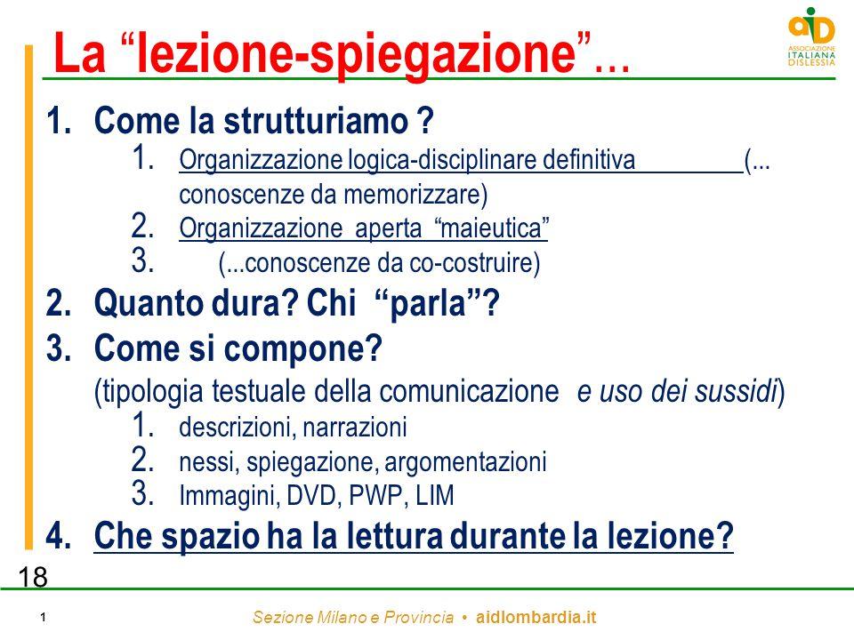 """Sezione Milano e Provincia aidlombardia.it 1 La """" lezione-spiegazione """"... 1.Come la strutturiamo ? 1. Organizzazione logica-disciplinare definitiva ("""