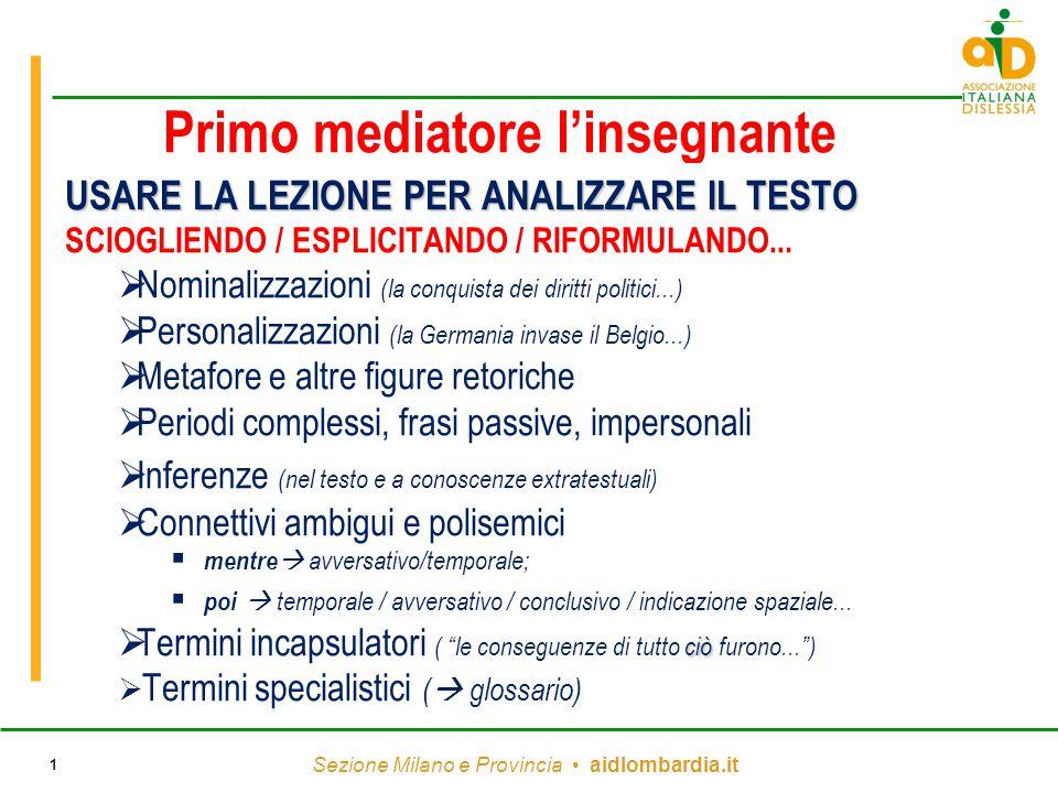 Sezione Milano e Provincia aidlombardia.it 1 Primo mediatore l'insegnante USARE LA LEZIONE PER ANALIZZARE IL TESTO SCIOGLIENDO / ESPLICITANDO / RIFORM