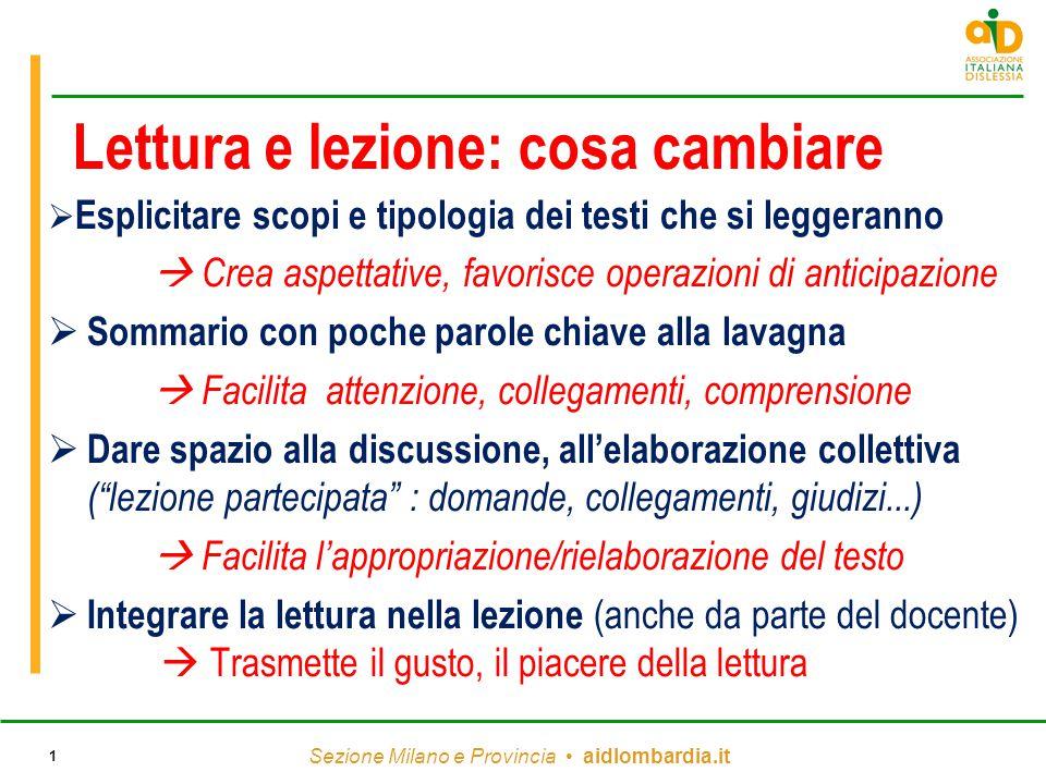 Sezione Milano e Provincia aidlombardia.it 1 Lettura e lezione: cosa cambiare  Esplicitare scopi e tipologia dei testi che si leggeranno  Crea aspet