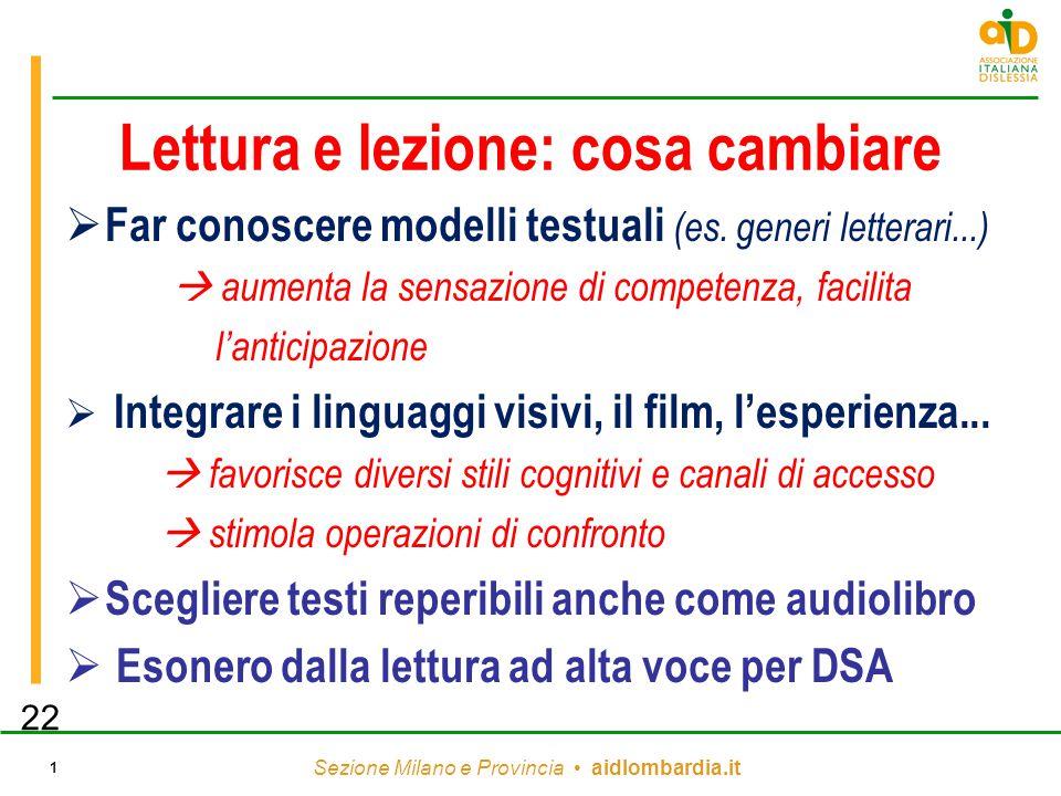 Sezione Milano e Provincia aidlombardia.it 1 Lettura e lezione: cosa cambiare  Far conoscere modelli testuali (es. generi letterari...)  aumenta la