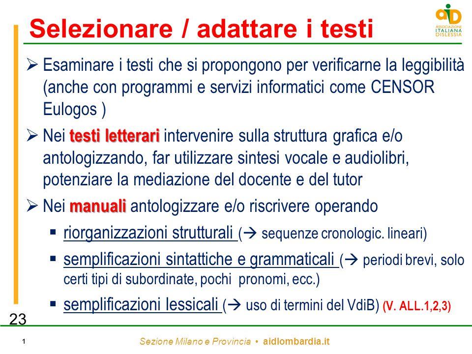 Sezione Milano e Provincia aidlombardia.it 1 Selezionare / adattare i testi  Esaminare i testi che si propongono per verificarne la leggibilità (anch