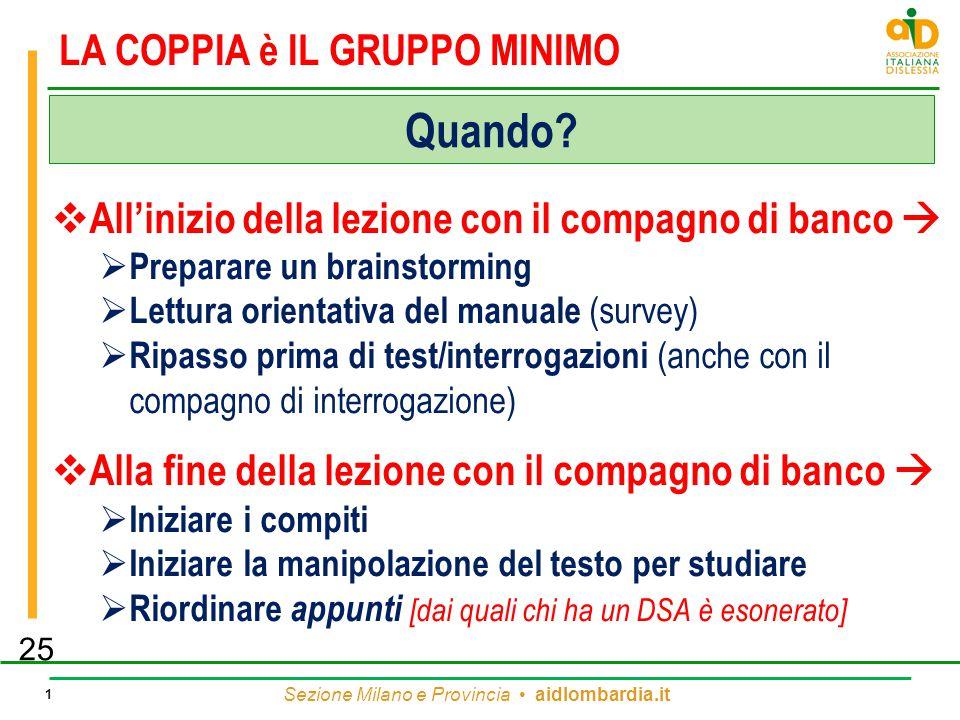 Sezione Milano e Provincia aidlombardia.it 1 LA COPPIA è IL GRUPPO MINIMO  All'inizio della lezione con il compagno di banco   Preparare un brainst