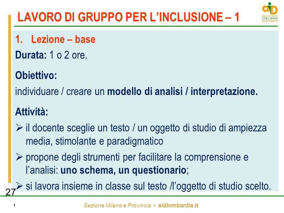 Sezione Milano e Provincia aidlombardia.it 1 LAVORO DI GRUPPO PER L'INCLUSIONE – 1 1.Lezione – base Durata: 1 o 2 ore. Obiettivo: individuare / creare