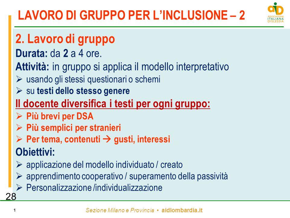 Sezione Milano e Provincia aidlombardia.it 1 LAVORO DI GRUPPO PER L'INCLUSIONE – 2 2. Lavoro di gruppo Durata: da 2 a 4 ore. Attività: in gruppo si ap
