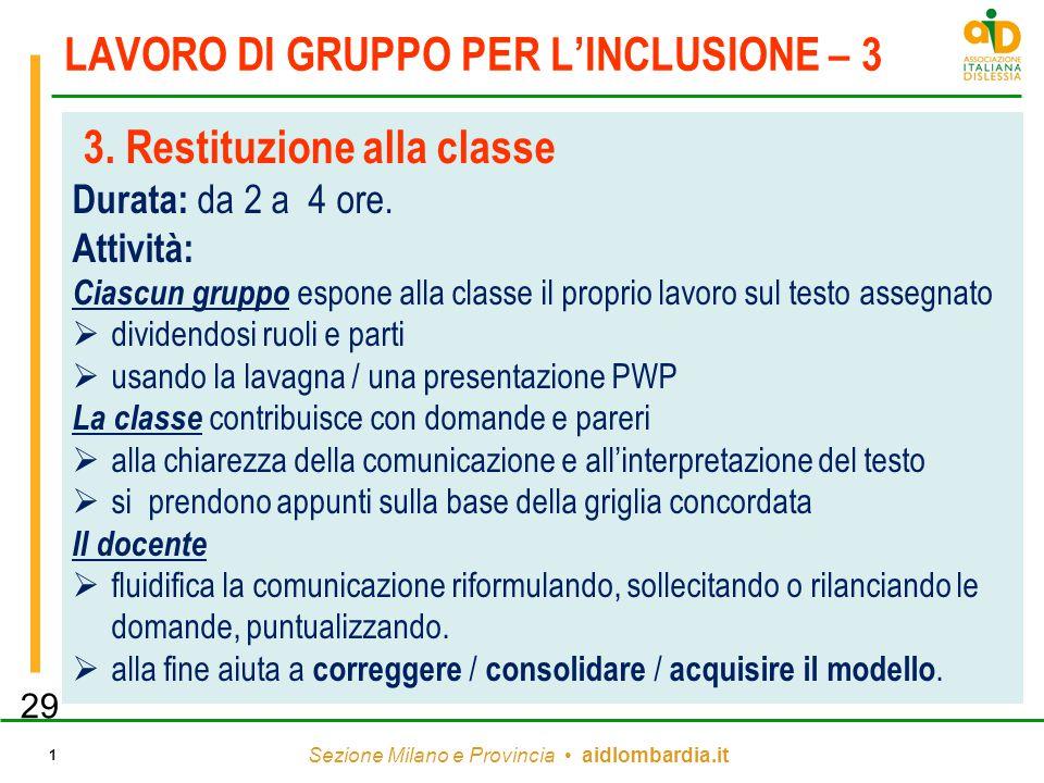 Sezione Milano e Provincia aidlombardia.it 1 LAVORO DI GRUPPO PER L'INCLUSIONE – 3 3. Restituzione alla classe Durata: da 2 a 4 ore. Attività: Ciascun